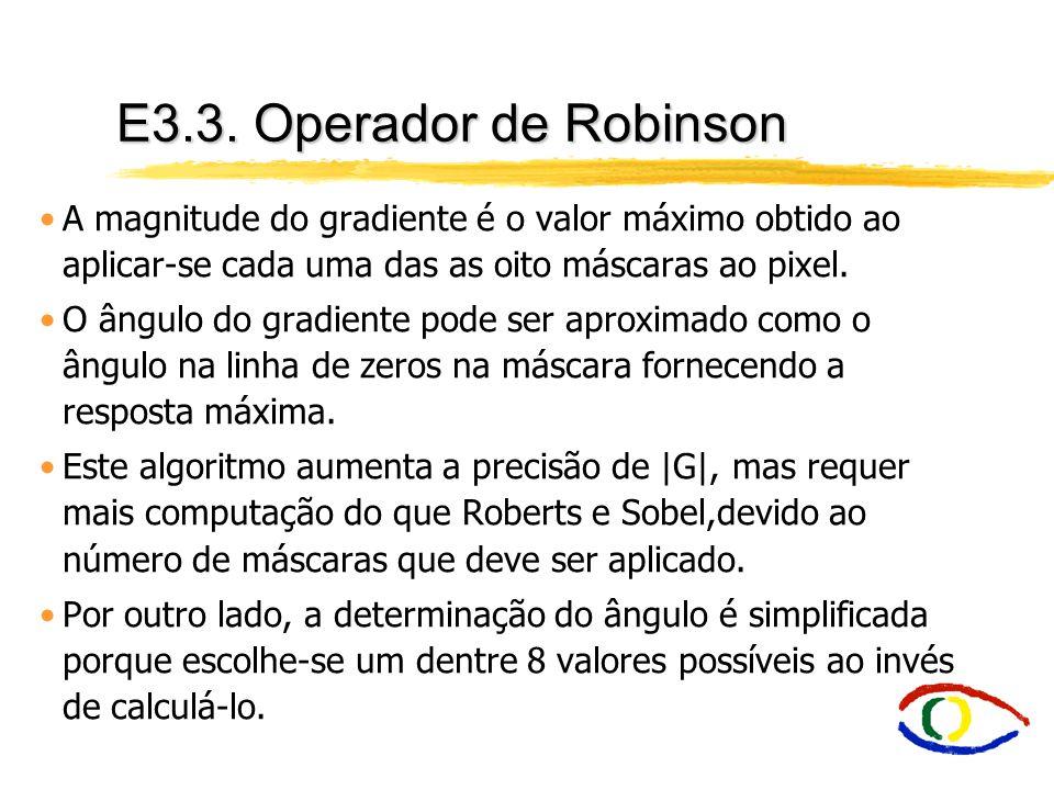 E3.3. Operador de Robinson A magnitude do gradiente é o valor máximo obtido ao aplicar-se cada uma das as oito máscaras ao pixel.