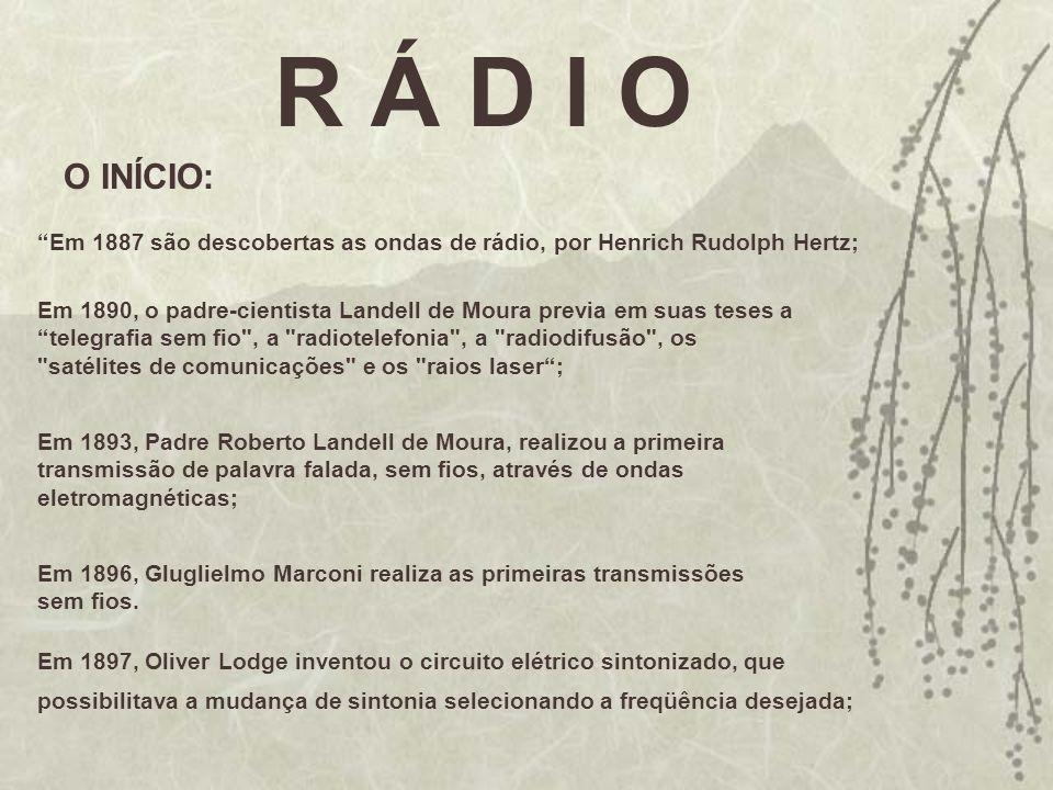 R Á D I O O INÍCIO: Em 1887 são descobertas as ondas de rádio, por Henrich Rudolph Hertz;