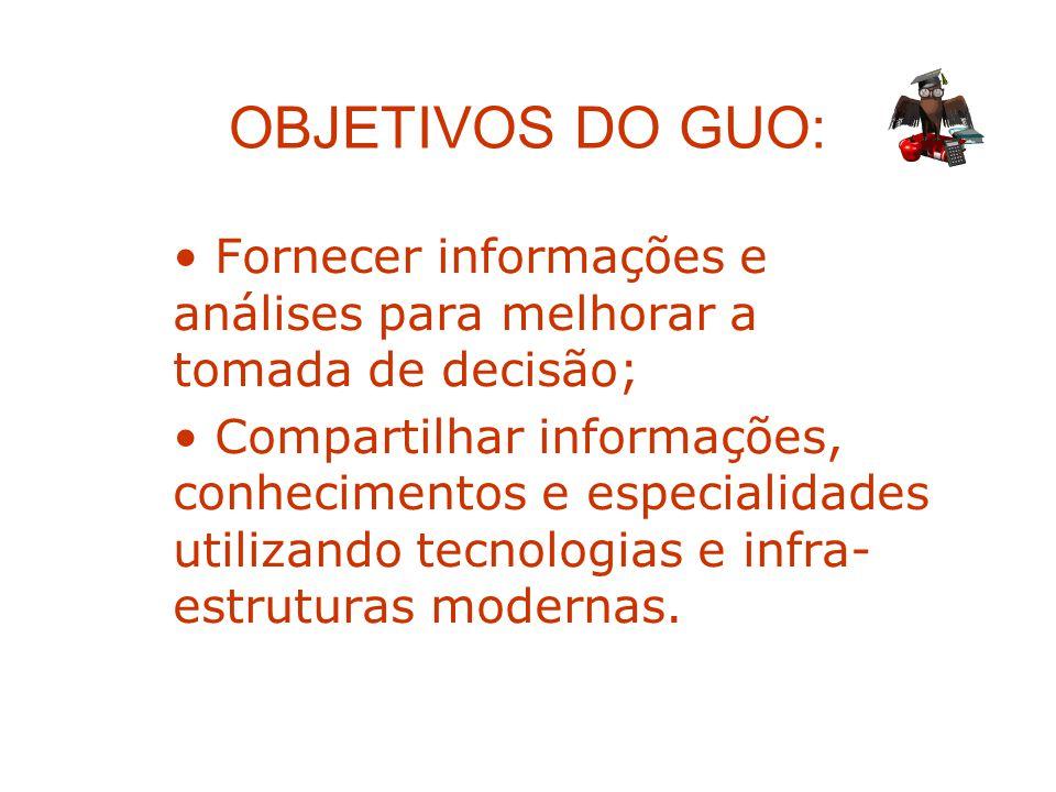 OBJETIVOS DO GUO: Fornecer informações e análises para melhorar a tomada de decisão;