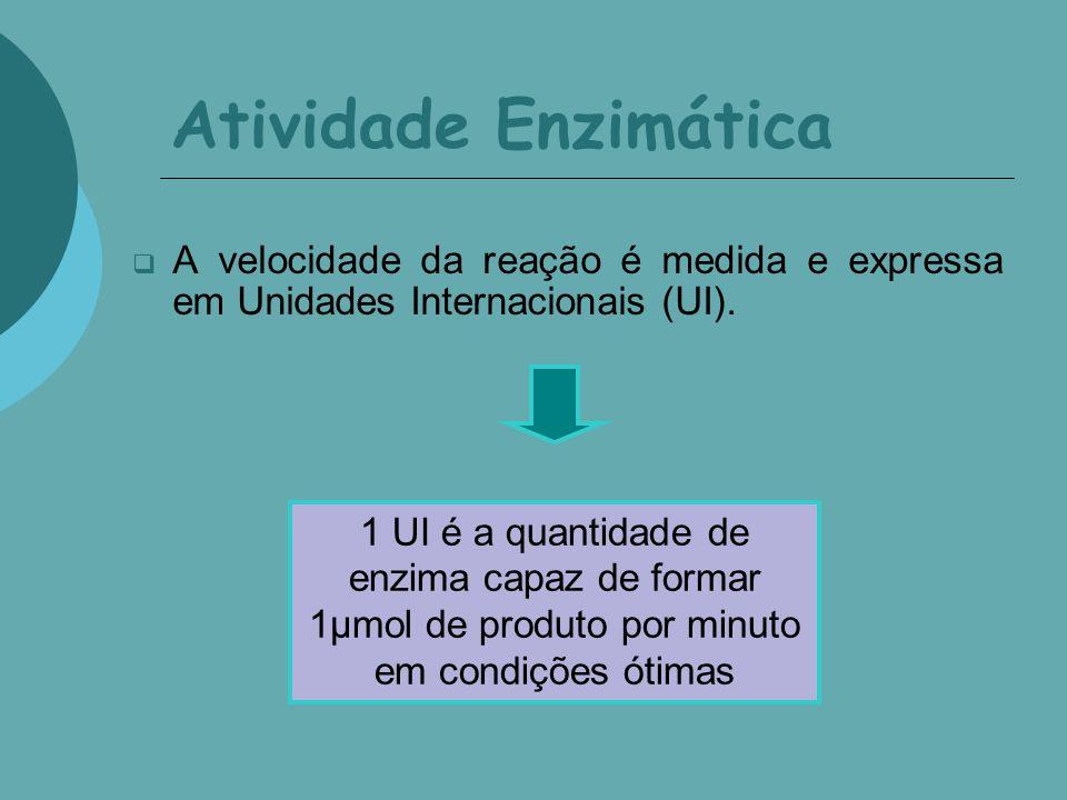 Atividade Enzimática A velocidade da reação é medida e expressa em Unidades Internacionais (UI).