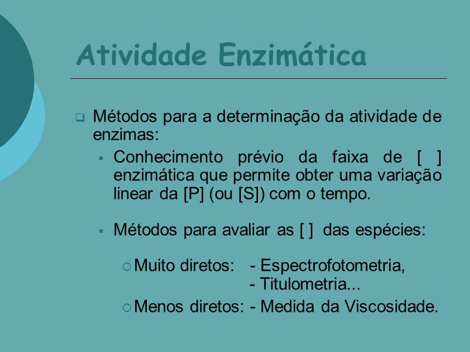 Atividade Enzimática Métodos para a determinação da atividade de enzimas:
