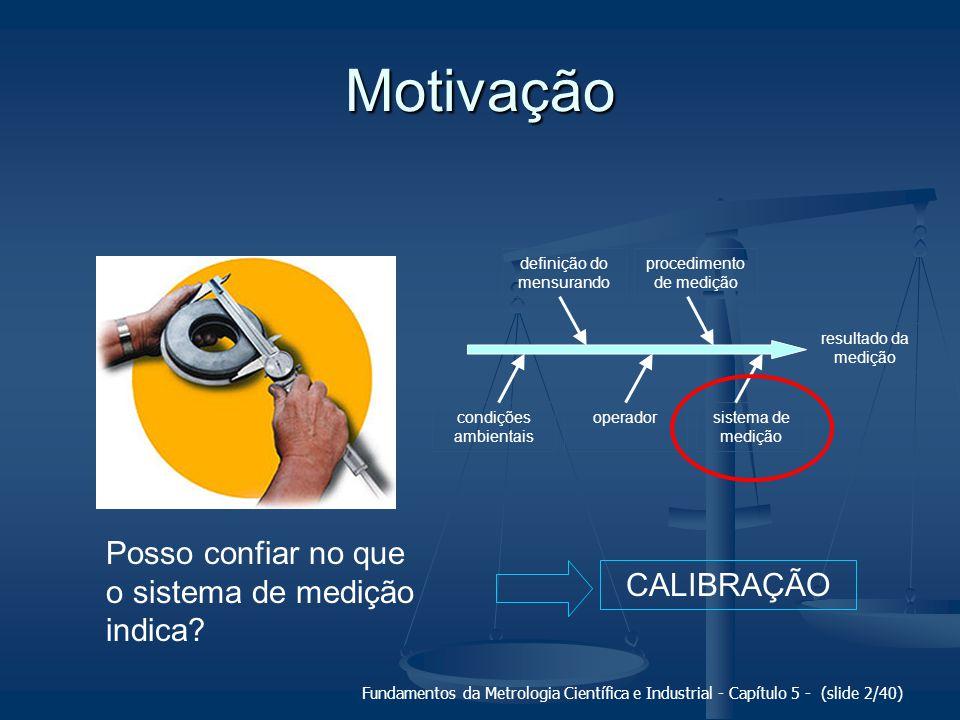 Motivação Posso confiar no que o sistema de medição indica CALIBRAÇÃO