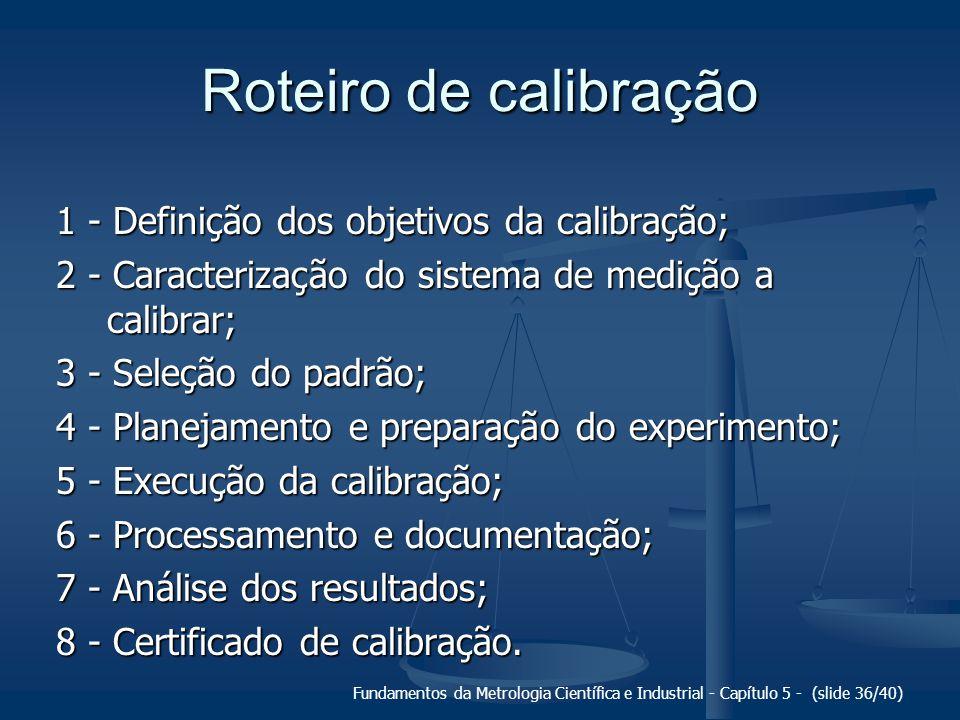 Roteiro de calibração 1 - Definição dos objetivos da calibração;