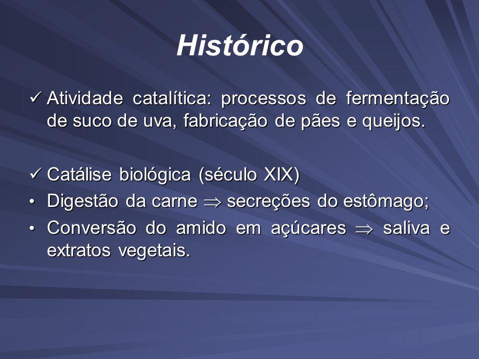 Histórico Atividade catalítica: processos de fermentação de suco de uva, fabricação de pães e queijos.