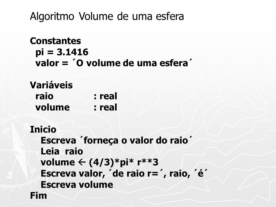 Algoritmo Volume de uma esfera