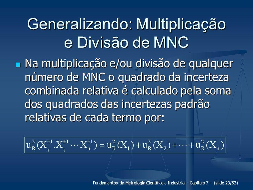 Generalizando: Multiplicação e Divisão de MNC