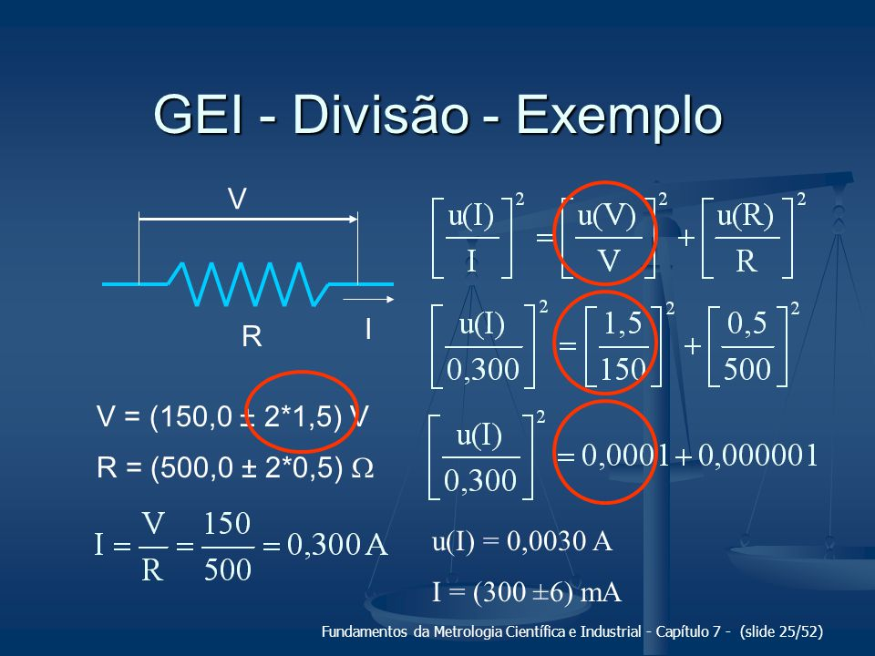 GEI - Divisão - Exemplo V I R V = (150,0 ± 2*1,5) V