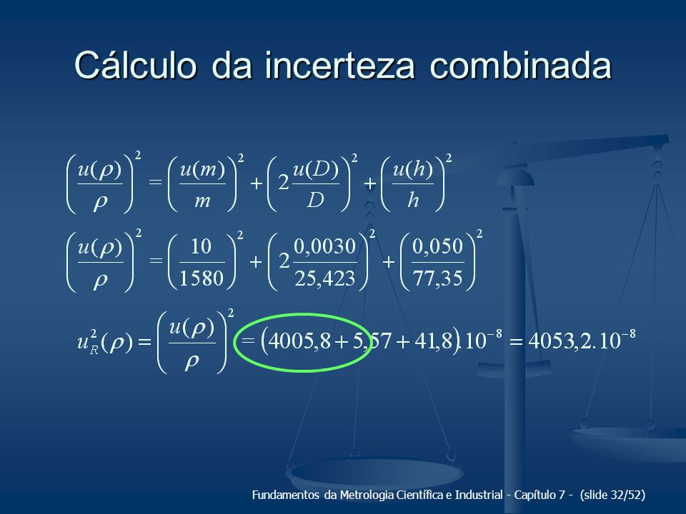 Cálculo da incerteza combinada