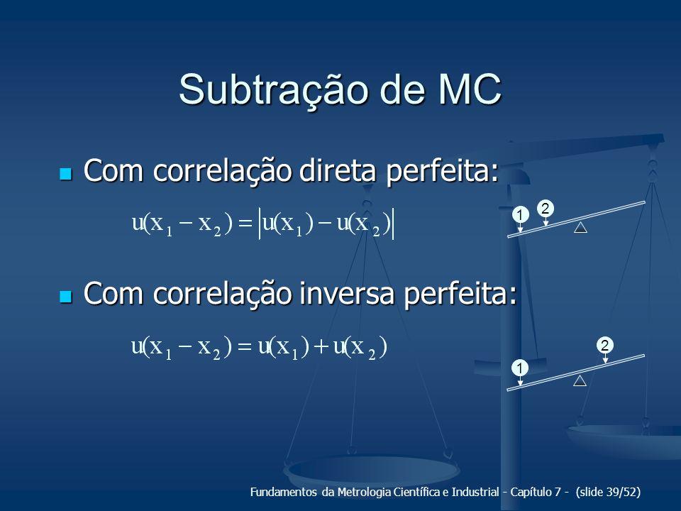Subtração de MC Com correlação direta perfeita: