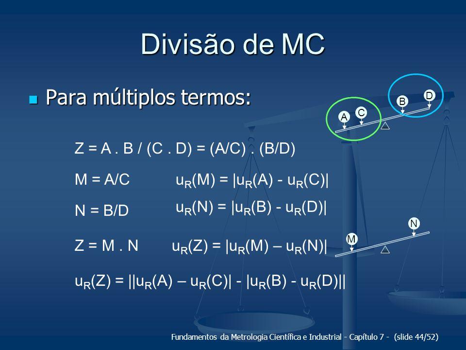 Divisão de MC Para múltiplos termos: