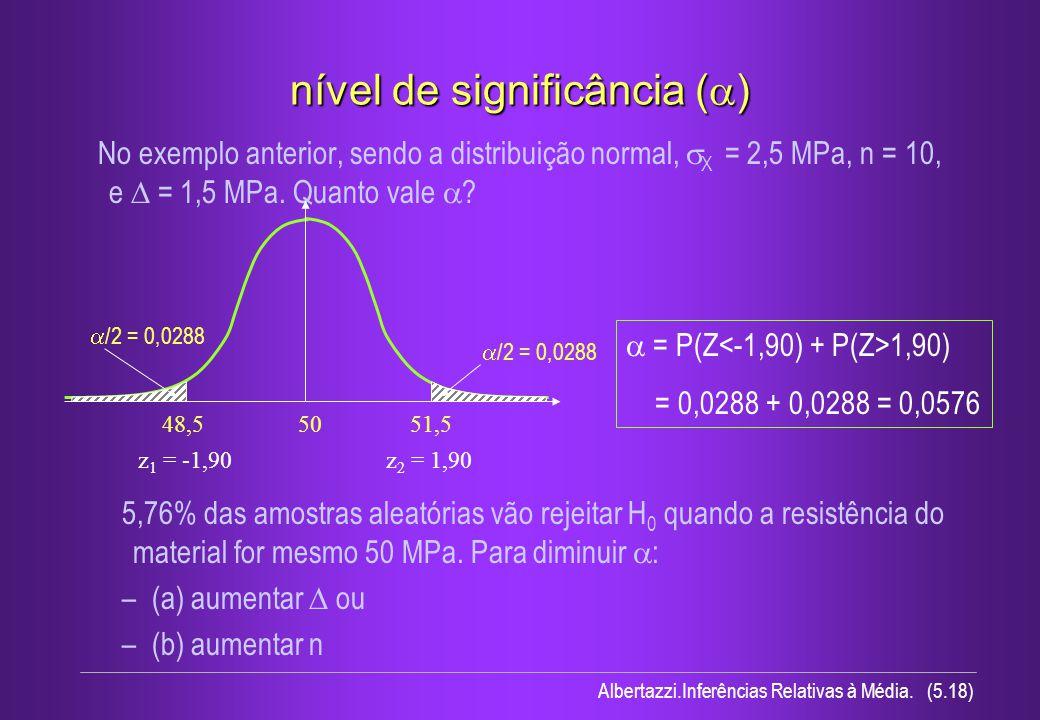 nível de significância (a)