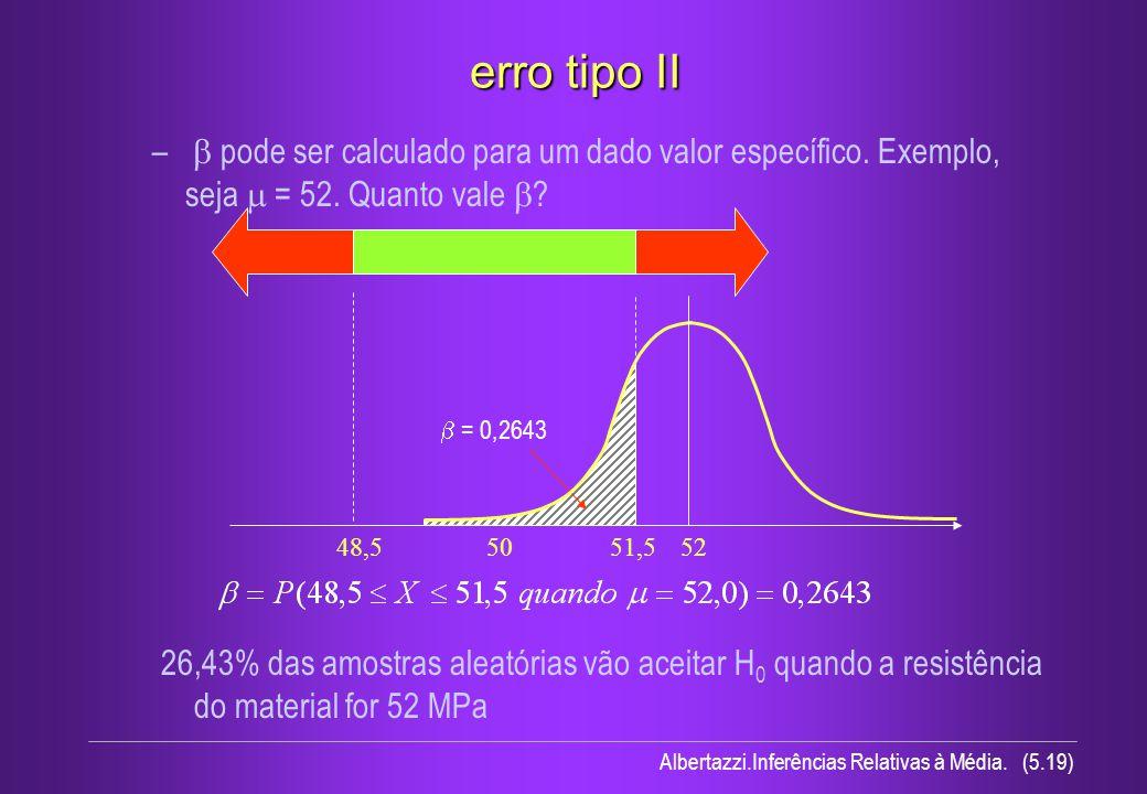 erro tipo II b pode ser calculado para um dado valor específico. Exemplo, seja m = 52. Quanto vale b
