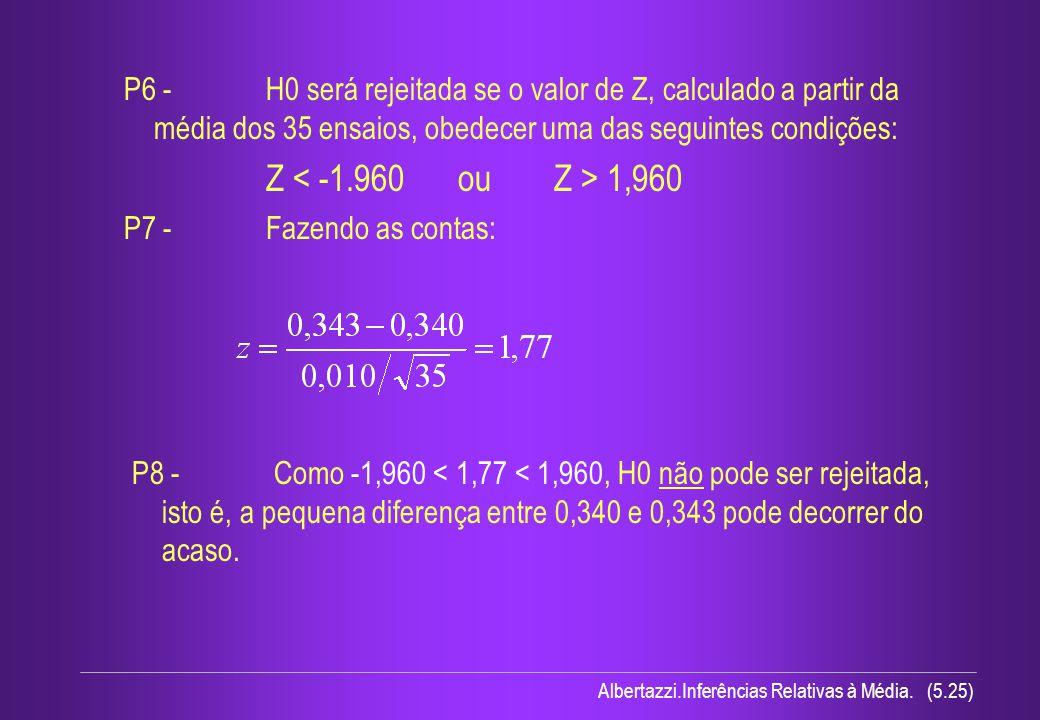 P6 - H0 será rejeitada se o valor de Z, calculado a partir da média dos 35 ensaios, obedecer uma das seguintes condições: