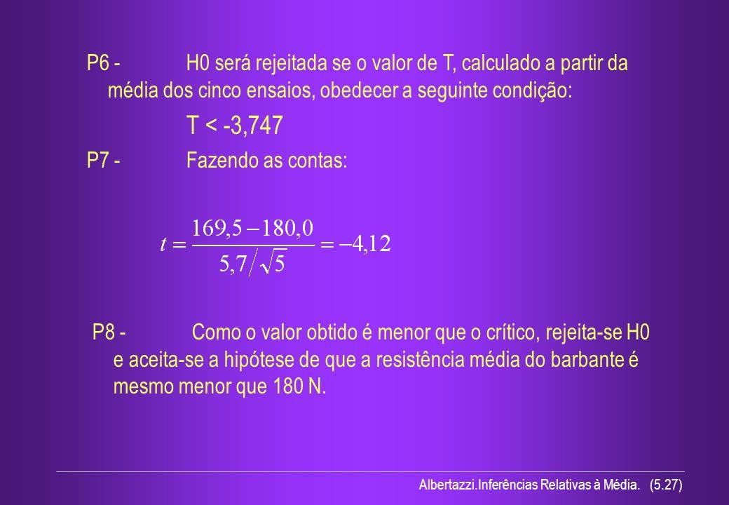 P6 - H0 será rejeitada se o valor de T, calculado a partir da média dos cinco ensaios, obedecer a seguinte condição:
