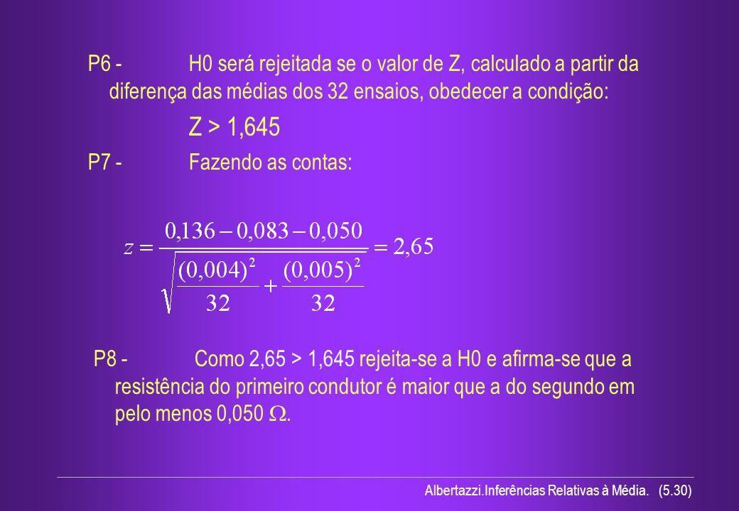 P6 - H0 será rejeitada se o valor de Z, calculado a partir da diferença das médias dos 32 ensaios, obedecer a condição:
