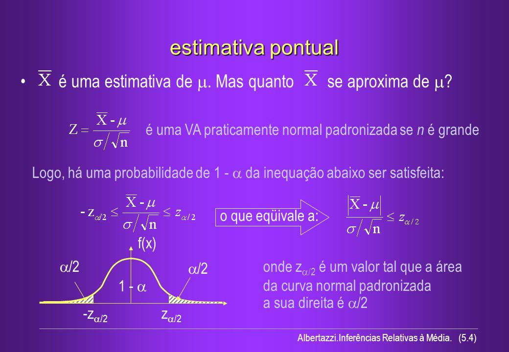 estimativa pontual é uma estimativa de m. Mas quanto se aproxima de 