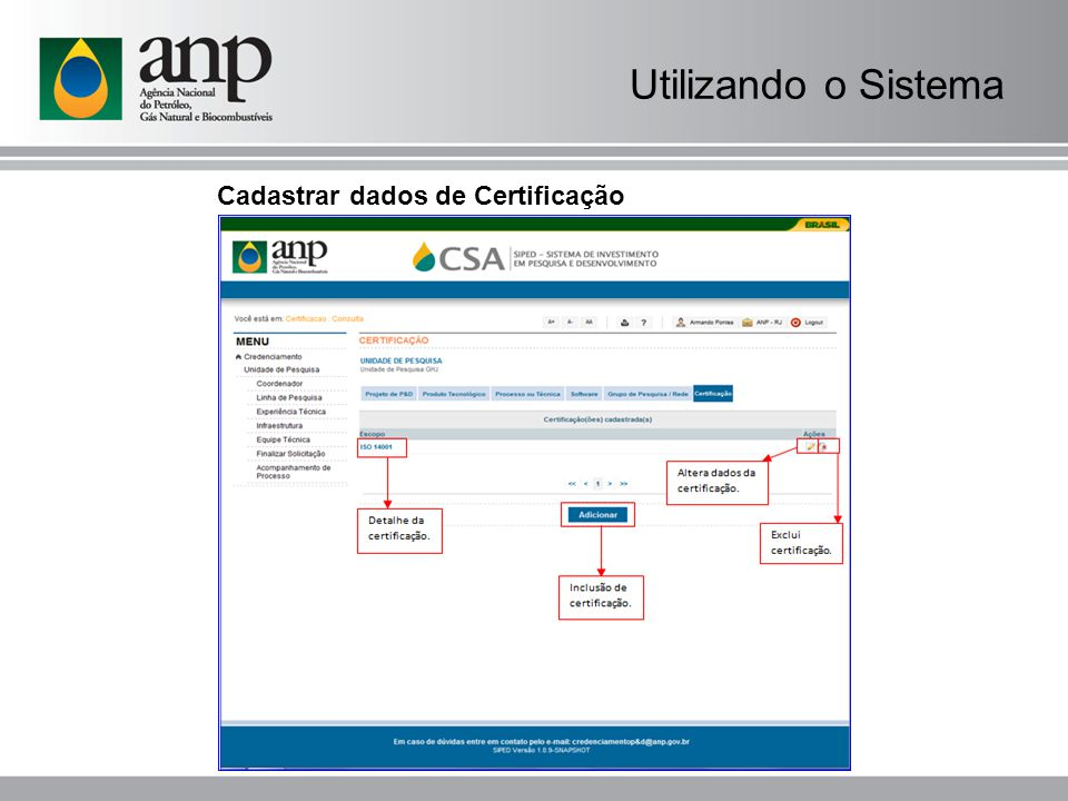 Utilizando o Sistema Cadastrar dados de Certificação