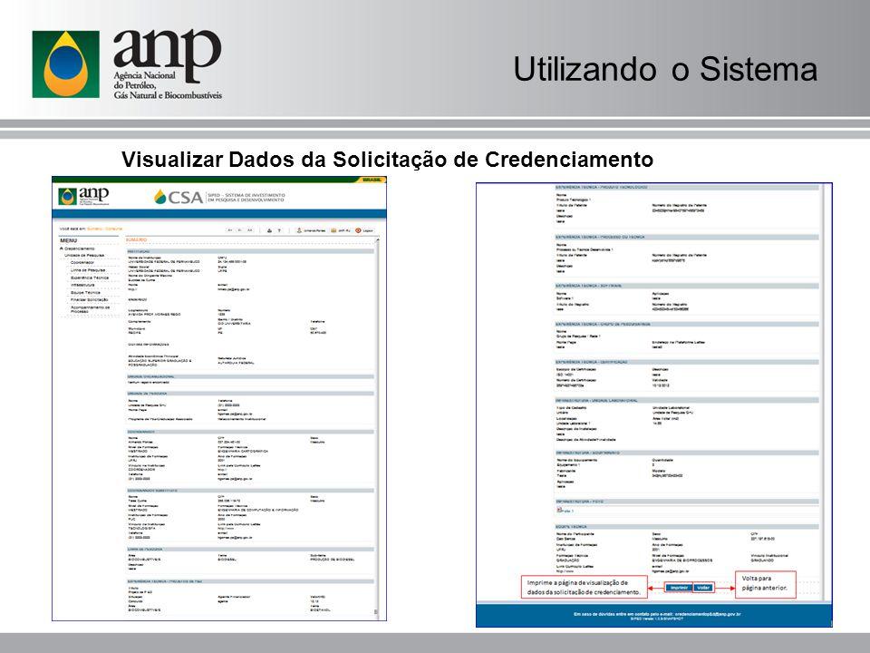 Utilizando o Sistema Visualizar Dados da Solicitação de Credenciamento