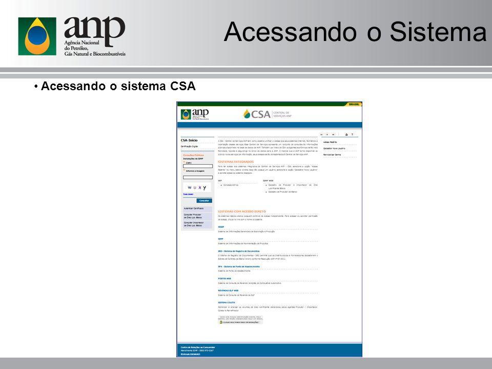 Acessando o Sistema Acessando o sistema CSA