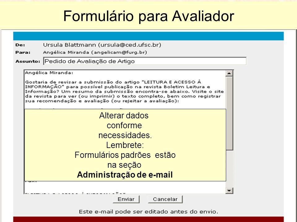 Formulário para Avaliador