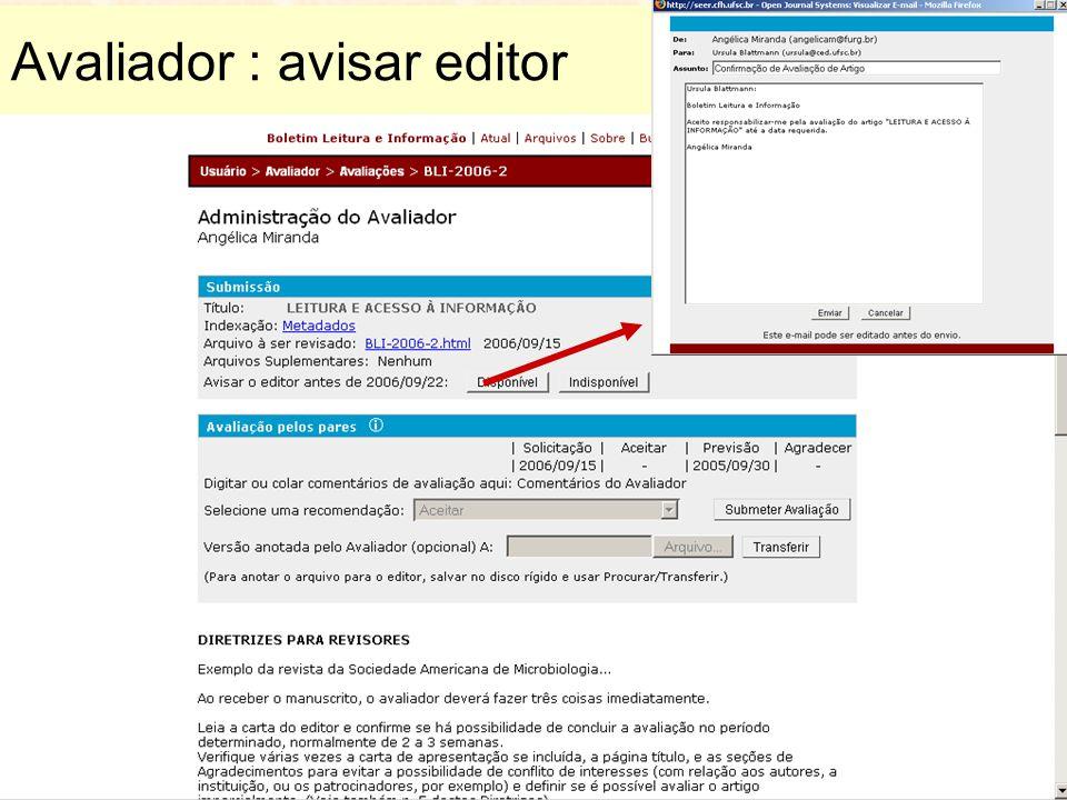 Avaliador : avisar editor