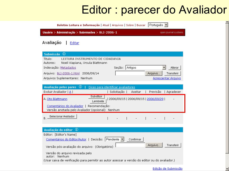 Editor : parecer do Avaliador