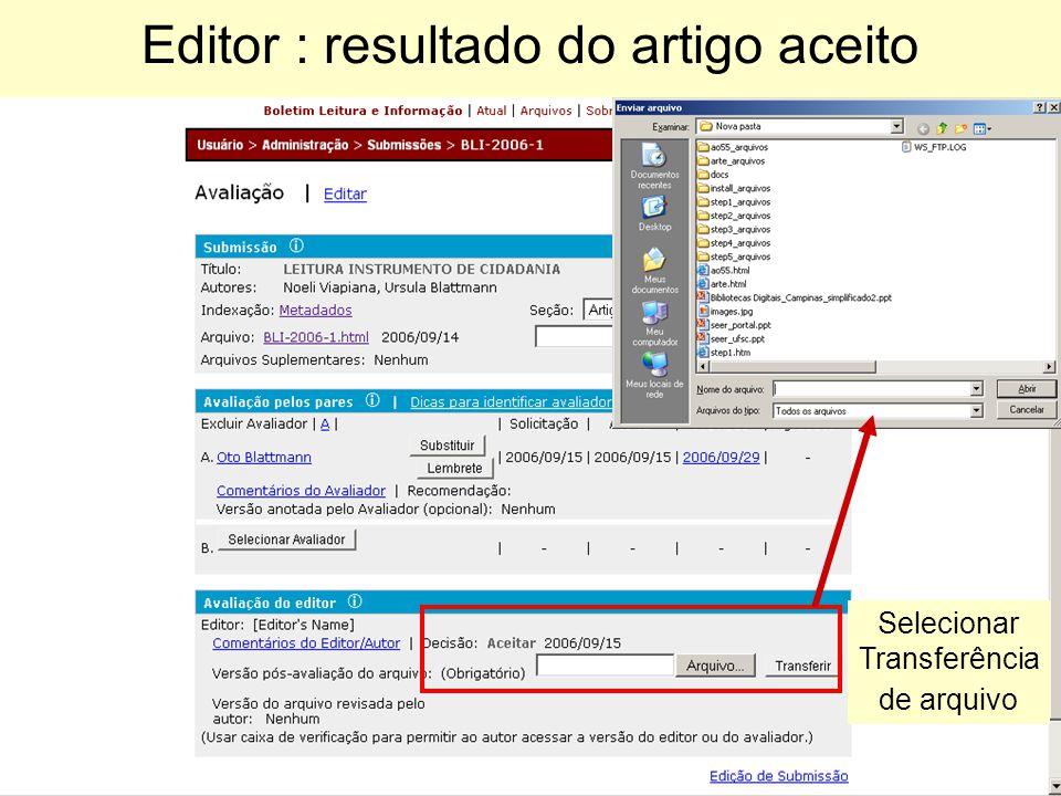 Editor : resultado do artigo aceito
