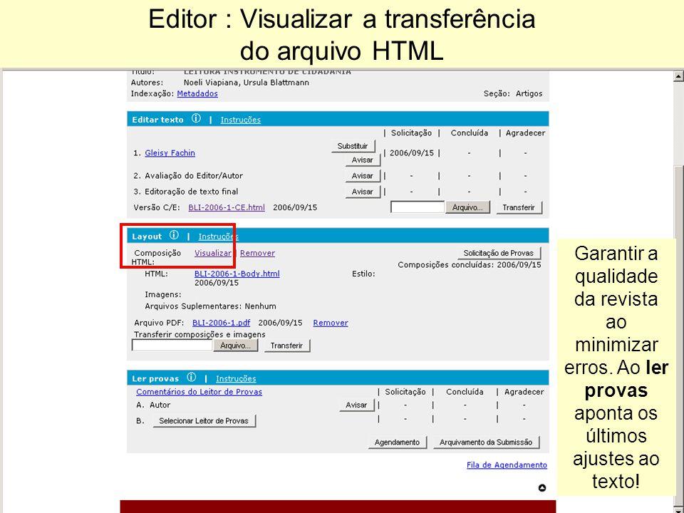 Editor : Visualizar a transferência do arquivo HTML