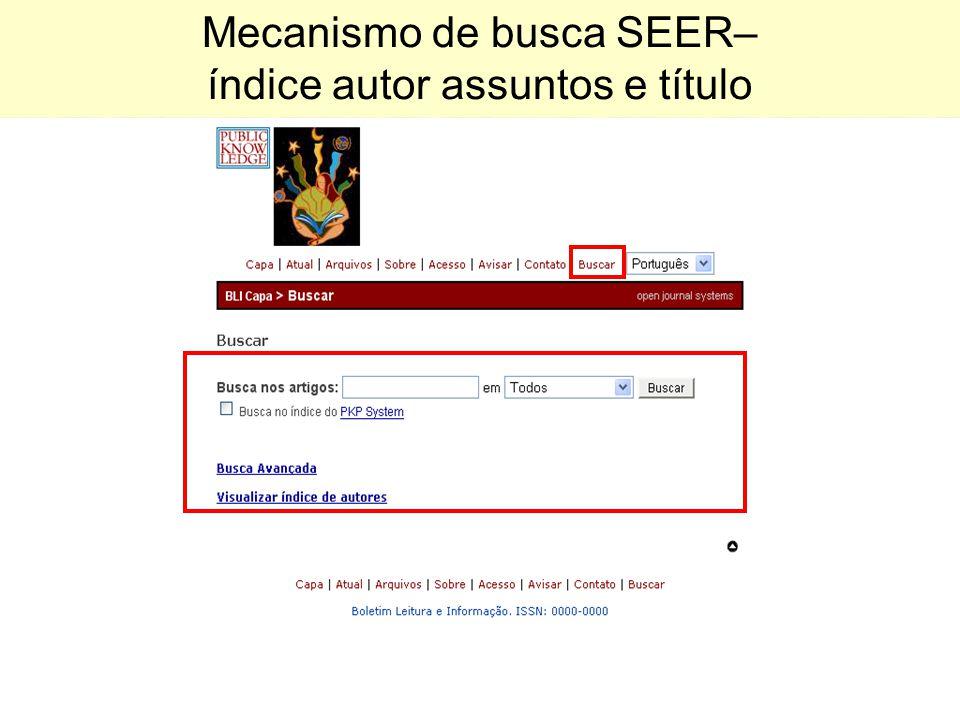 Mecanismo de busca SEER– índice autor assuntos e título