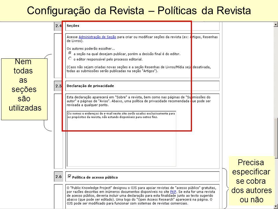 Configuração da Revista – Políticas da Revista