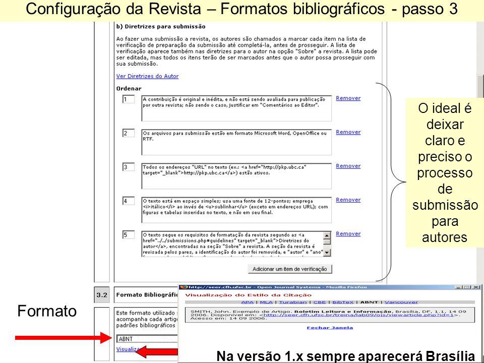 Configuração da Revista – Formatos bibliográficos - passo 3