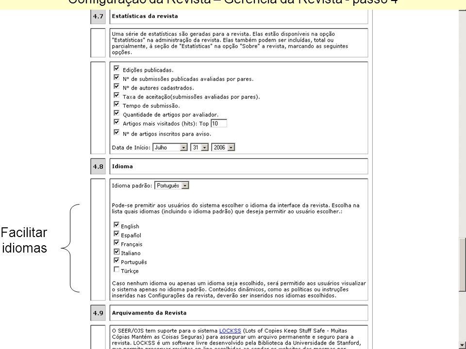 Configuração da Revista – Gerencia da Revista - passo 4