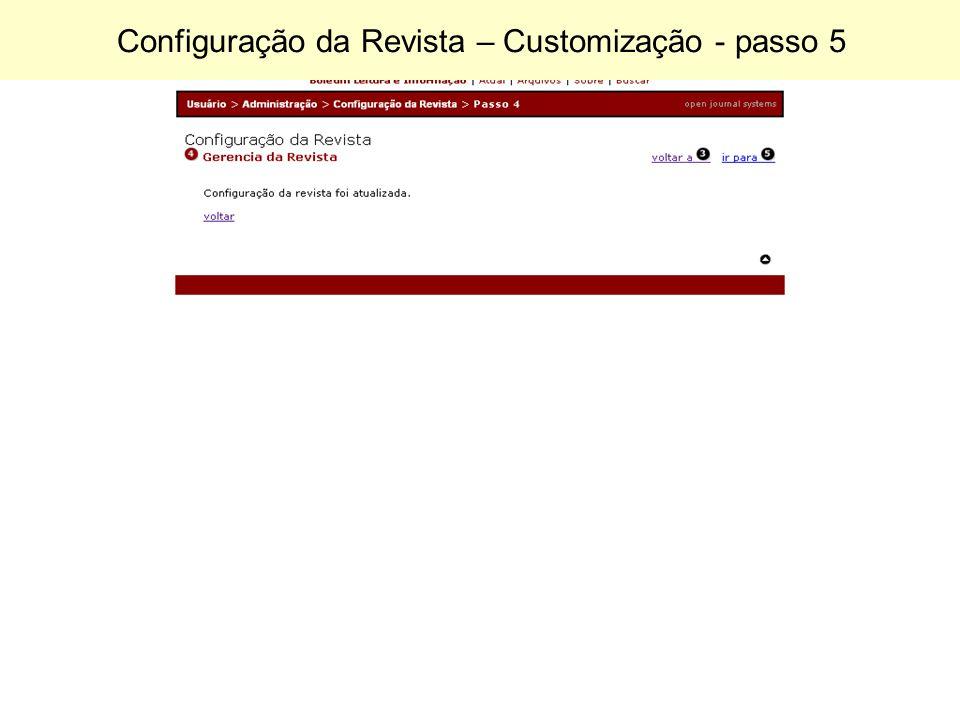 Configuração da Revista – Customização - passo 5