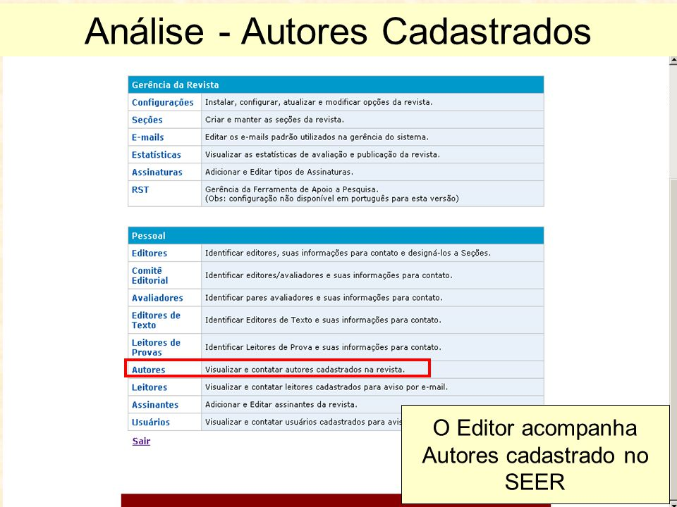 Análise - Autores Cadastrados