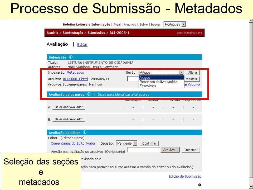 Processo de Submissão - Metadados