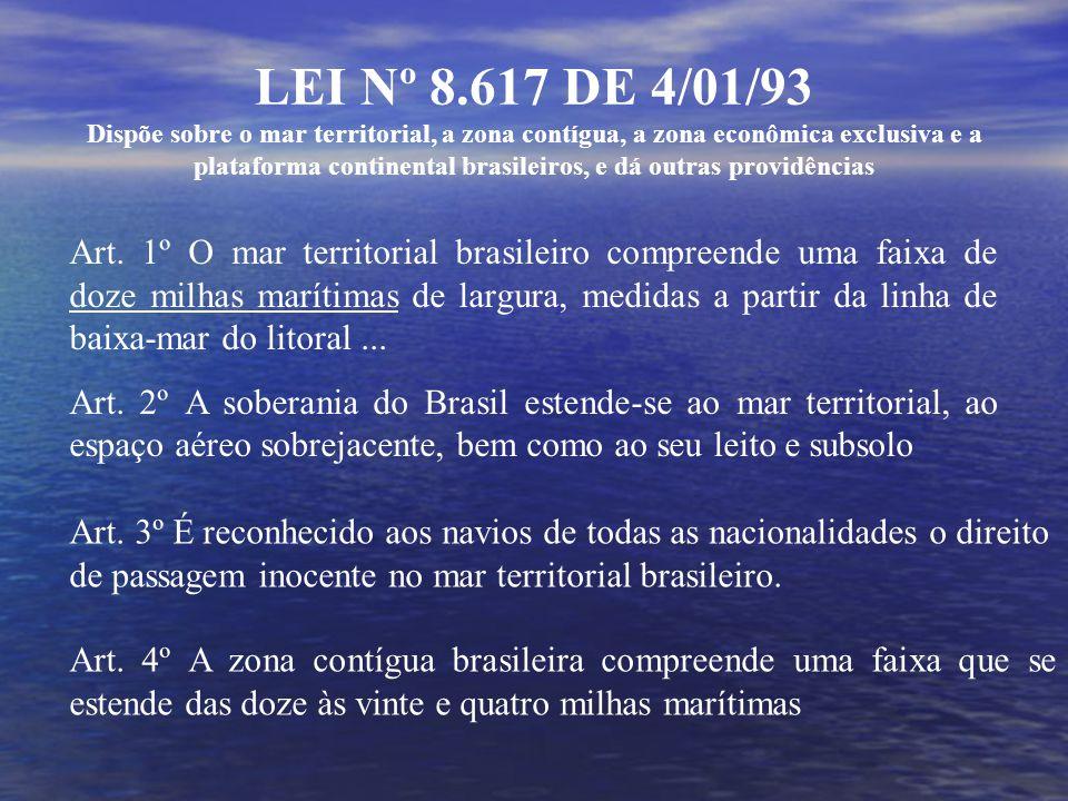 LEI Nº 8.617 DE 4/01/93 Dispõe sobre o mar territorial, a zona contígua, a zona econômica exclusiva e a plataforma continental brasileiros, e dá outras providências