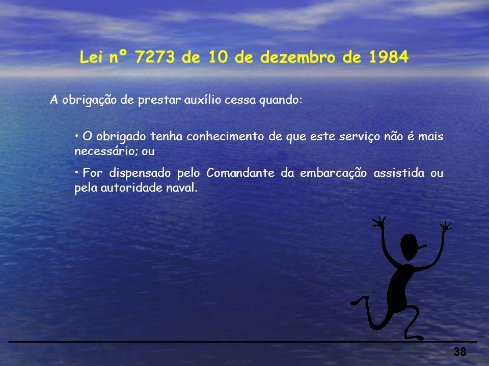 Lei nº 7273 de 10 de dezembro de 1984 A obrigação de prestar auxílio cessa quando: