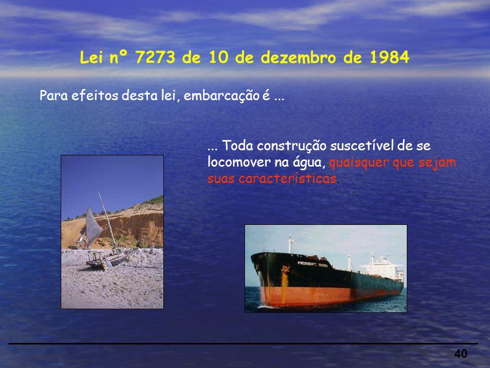Lei nº 7273 de 10 de dezembro de 1984 Para efeitos desta lei, embarcação é ...