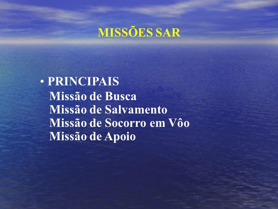 MISSÕES SAR PRINCIPAIS. Missão de Busca. Missão de Salvamento.