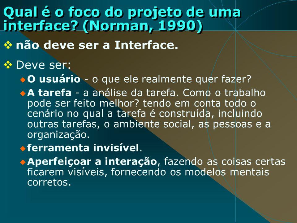 Qual é o foco do projeto de uma interface (Norman, 1990)