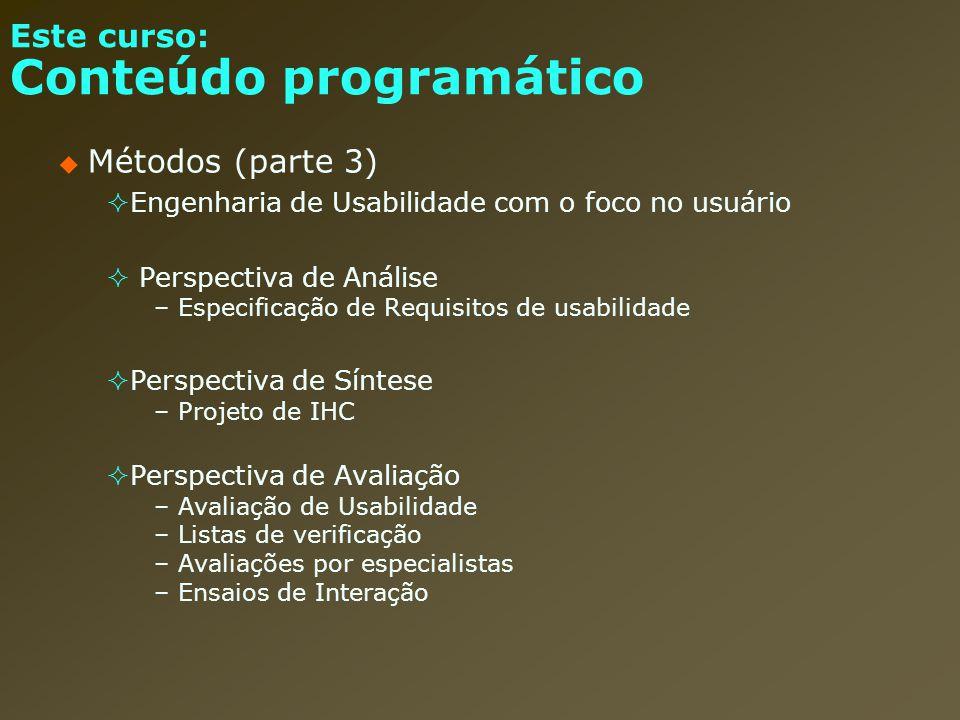 Este curso: Conteúdo programático