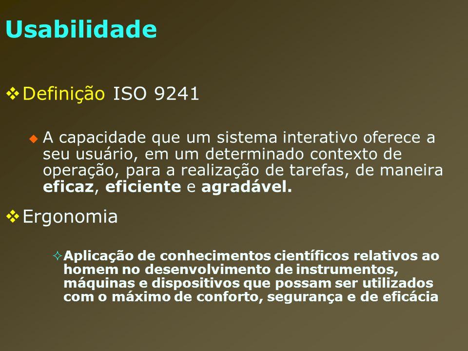 Usabilidade Definição ISO 9241 Ergonomia