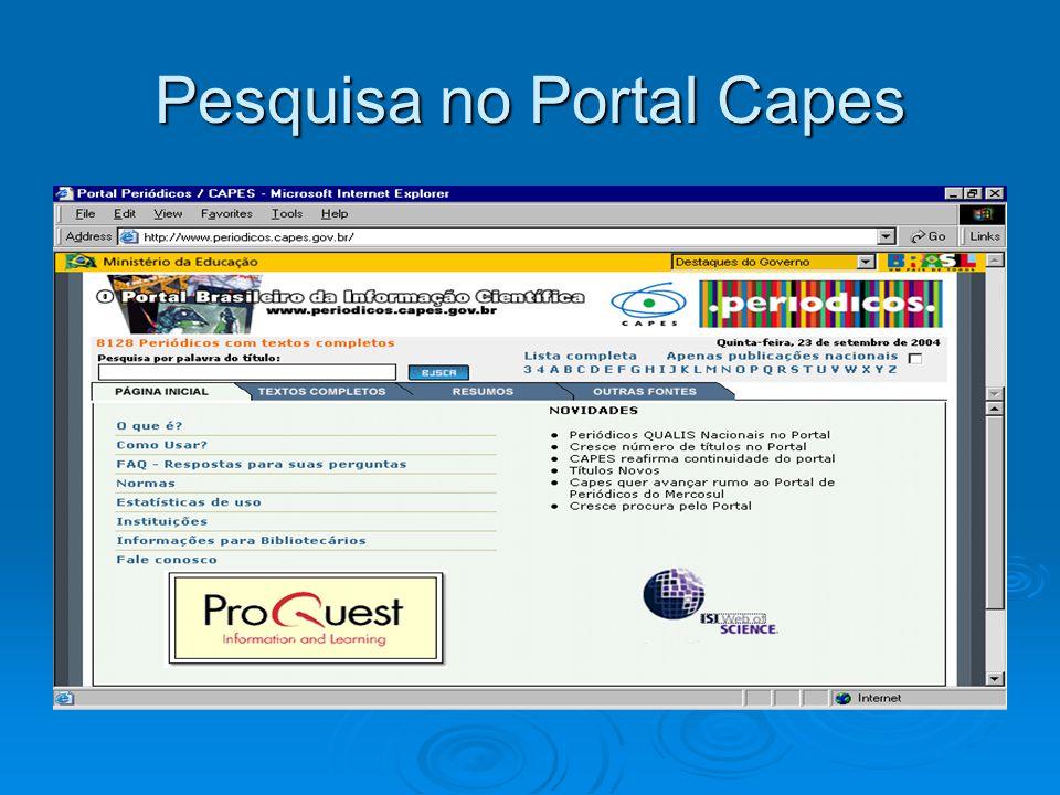 Pesquisa no Portal Capes