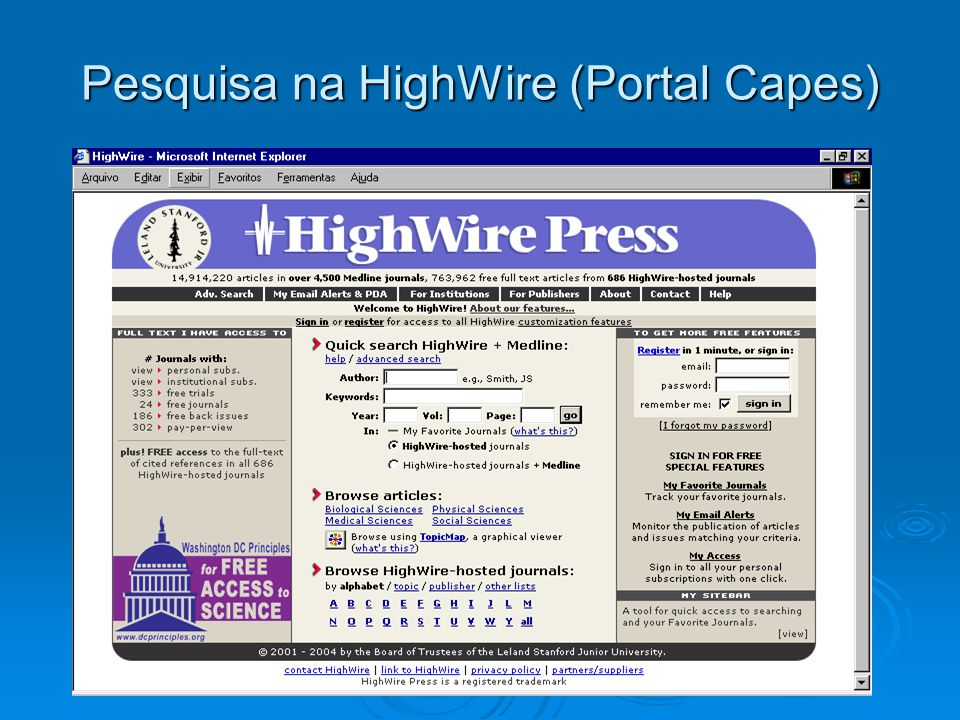 Pesquisa na HighWire (Portal Capes)