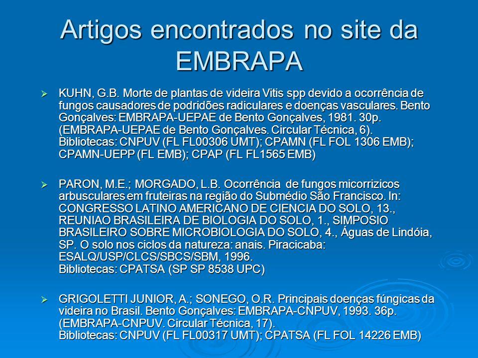 Artigos encontrados no site da EMBRAPA