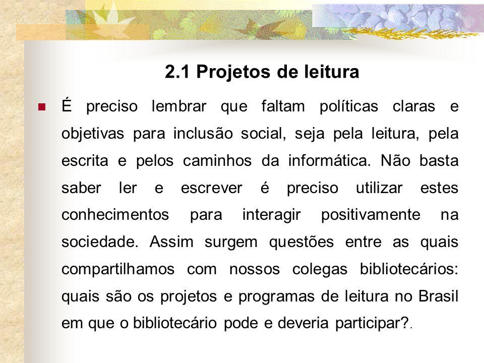 2.1 Projetos de leitura
