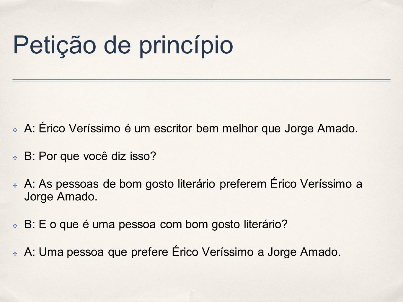 Petição de princípio A: Érico Veríssimo é um escritor bem melhor que Jorge Amado. B: Por que você diz isso