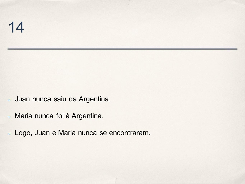14 Juan nunca saiu da Argentina. Maria nunca foi à Argentina.