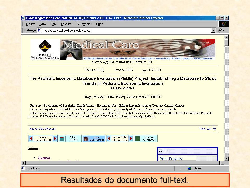 Resultados do documento full-text.