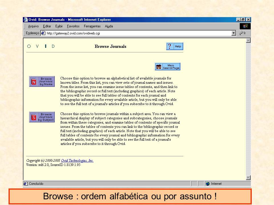 Browse : ordem alfabética ou por assunto !